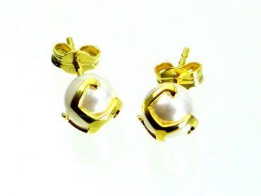ASS 333 Gold Ohrringe Damen Ohrstecker mit Perlen weiß, 6 mm – Bild 3