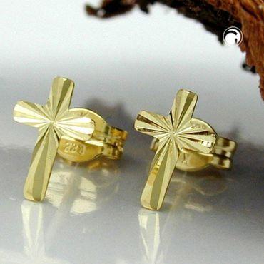 ASS 333 Gold Ohrschmuck Ohrringe Ohrstecker Kreuz, diamantiert – Bild 2