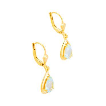 ASS 333 Gold Topmodische Damen Ohrringe Brisur Ohrhänger Tropfen mit Blautopas echt – Bild 2