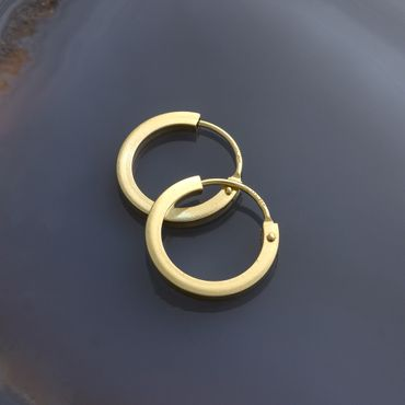 ASS 585 Gold Paar Ohrringe Klappcreolen, glanzpoliert – Bild 4