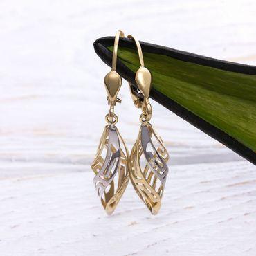 ASS 585 Gold Paar Damen hängende Ohrringe Brisuren bicolor gedreht mit Muster – Bild 3