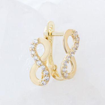ASS 585 Gold Paar Damen Ohrringe Creolen Halbcreolen Unendlichkeit Gelbgold mit Zirkonia weiß – Bild 2