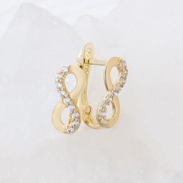 ASS 585 Gold Paar Damen Ohrringe Creolen Halbcreolen Unendlichkeit Gelbgold mit Zirkonia weiß – Bild 3