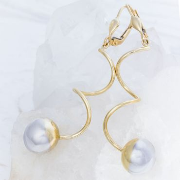 ASS 585 Gold Paar Damen  Ohrringe Brisuren bicolor gedreht Spirale mit Kugel – Bild 3