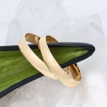 ASS 585 Gold Paar Ohrringe Runde Klappcreolen Creolen schlicht ohne Muster 22mm  – Bild 4