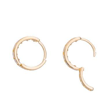 ASS 585 Gold Damen Kinder Ohrringe Creolen 11 mm mit Zirkonia weiß. Neu – Bild 2