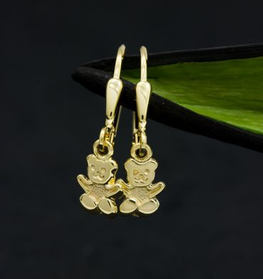 ASS 333 Gold Kinder Ohrringe Ohrhänger Brisur Teddybär Bär 22 mm, teilmatt, Gelbgold – Bild 2