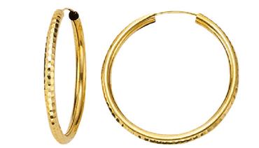 ASS 333 Gold Topmodische Damen Kinder Ohrringe Creolen 20 x 2 mm diamantiert – Bild 1