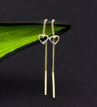 ASS 333 Gold Ohrringe Durchzieher offenes Herz ,2-farbig,Bicolor – Bild 3