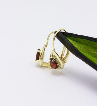ASS 333 Gold Topmodische Damen  Ohrringe Brisur Tropfen Granat Echt – Bild 5