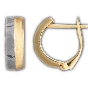 ASS 333 Gold Creolen mit Clipbügel 2-farbig Bicolor Creolen weiß rhodiniert 13,5mm – Bild 1