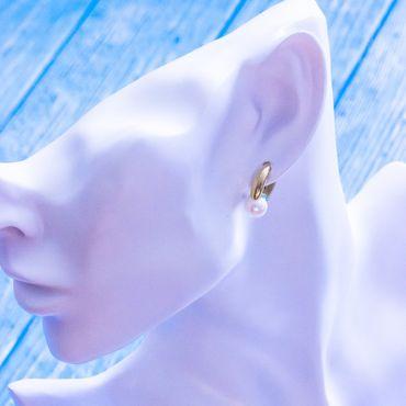 333 Gold Damen Ohrringe Creolen glanz oval Klappcreolen 10mm mit Perlen  – Bild 3