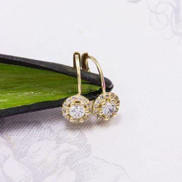 ASS 585 Gold Paar Damen Kinder kleine Ohrringe Ohrhänger mit Zirkonia rund 14K – Bild 2