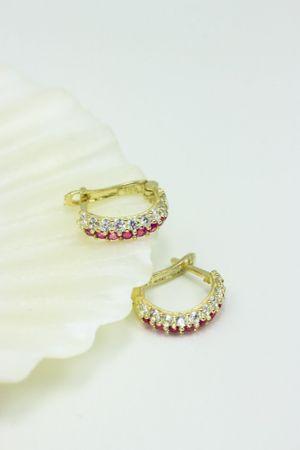 ASS 585 Gold Kinder Damen Ohrringe Creolen Halbcreolen 10 mm mit  Zirkonia rot  ganz, weiß 2 Reihen.NEU – Bild 3