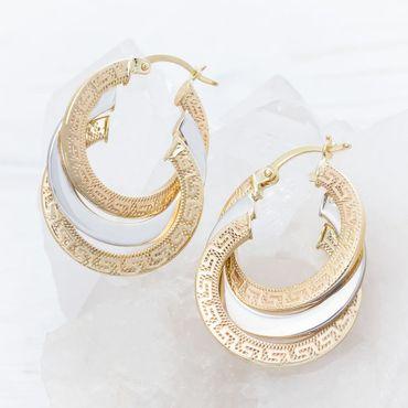 ASS 585 Gold Paar Ohrringe Klappcreolen Creolen bicolor Muster mit Muster Greek 29mm  – Bild 1