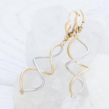 ASS 585 Gold Paar Topmodische Ohrhänger Ohrringe Brisur Bicolor Spirale gedreht – Bild 2