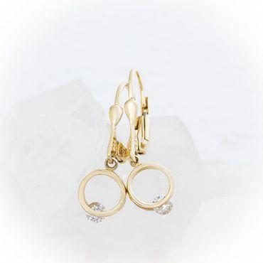 ASS 585 Gold Paar Topmodische Ohrhänger Ohrringe Brisur Bicolor rund mit Zirkonia – Bild 1