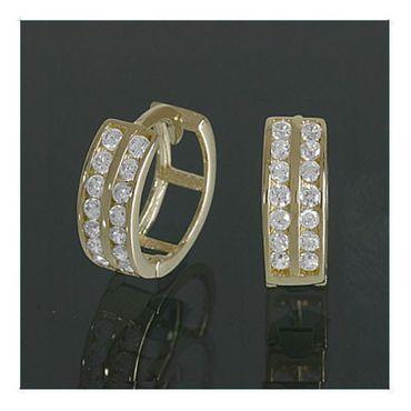 ASS 333 Gold Scharniercreolen Ohrringe Klappcreolen Klapp Creolen mit 28 runden gefassten Zirkonia – Bild 3