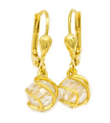 ASS 333 Gold Ohrringe Ohrhänger Brisur eingedrehte ZIrkonia Kugel weiß 6mm – Bild 1