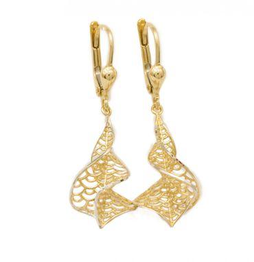 ASS 585 Gold Paar Topmodische Ohrhänger Ohrringe Brisur Bicolor 38mm  lang – Bild 1