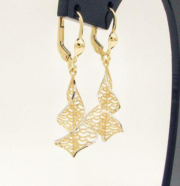 ASS 585 Gold Paar Topmodische Ohrhänger Ohrringe Brisur Bicolor 38mm  lang – Bild 2