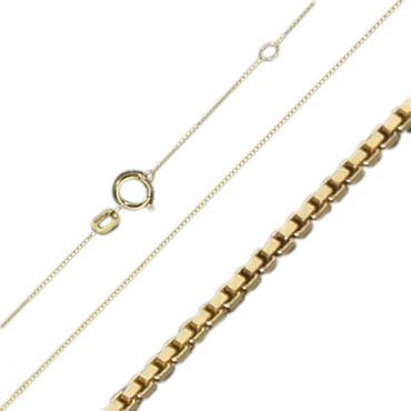 ASS 333 Gold Damen Kinder Venezianer Kette 42cm 0,6 mm Halskette Collie,diamantiert – Bild 1
