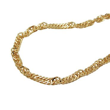 ASS 333 Gold Damen  Kinder Singapur Kette 1mm 45cm Singapurkette, diamantiert, gedreht – Bild 1