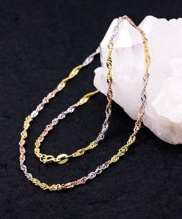 ASS 333 Gold Damen Singapur Kette, Singapurkette 45 cm, Tricolor, 3-farbig – Bild 2