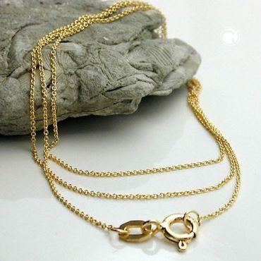 ASS 333 Gold feine Anker Kette Ankerkette 40 cm 0,6 mm flach Gelbgold Halskette – Bild 2