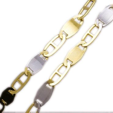 ASS 333 Gold Damen Herren Panzersteg Kette  Panzerkette 45 cm 2,5mm Bicolor – Bild 1