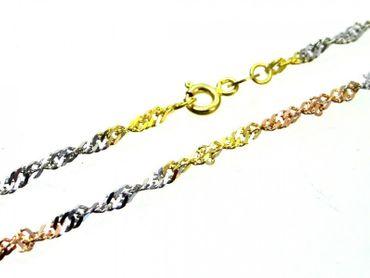ASS 333 Gold Damen Singapur Armband, Singapurarmband 19 cm, Tricolor, 3-farbig – Bild 3