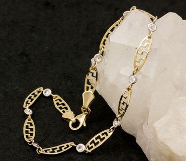 ASS 585 Gold Damen Armband 20cm, durchbrochen, glanz bicolor mit Zirkonia 14K – Bild 4