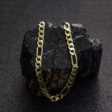 ASS 333 Gold Herren Figarokette Figaro Armband diamantiert 21 cm – Bild 5