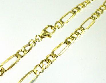 ASS 333 Gold Damen Herren Figaro Armband 21 cm 5,1 mm Figarokette, diamantiert – Bild 3