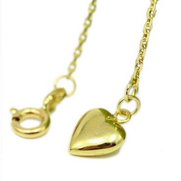 ASS 333 Gold Damen Anker Fußkette Fußkettchen mit Herz und Zwischenöse einstellbar 23-25cm – Bild 1