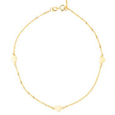 ASS 333 Gold Damen Fußkettchen Fusskette Singapurkette mit 3 Herzen 22/25cm, Herz-5mm Fußschmuck – Bild 1