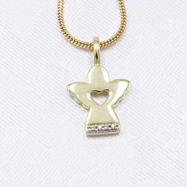 ASS 333 Gold Anhänger Engel Schutzengel 20mm mit Zirkonia  Kommunion Konfirmation Geschenk – Bild 3