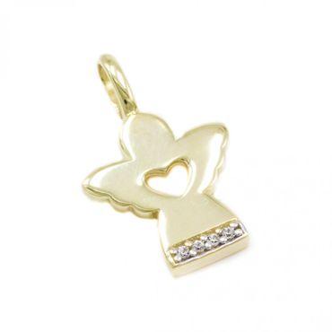 ASS 333 Gold Anhänger Engel Schutzengel 20mm mit Zirkonia  Kommunion Konfirmation Geschenk – Bild 1