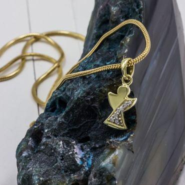 ASS 333 Gold Anhänger Engel Schutzengel mit 7 Zirkonia Kommunion Konfirmation Geschenk – Bild 2