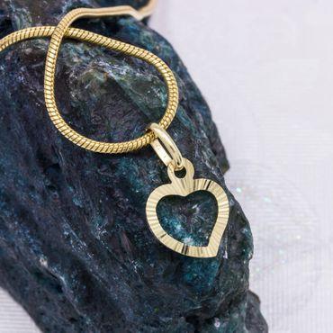 ASS 585 Gold Gelbgold kleiner Anhänger offenes Herz 12mm Kettenanhänger diamantiert – Bild 3