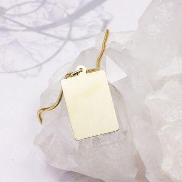 ASS 333 Gold Damen Herren Anhänger Gravurplatte mit Wünschgravur, diamantiert – Bild 3