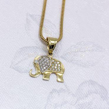 ASS 585 Gold bicolor Anhänger Elefant glänzend,Glücksbringer,Kettenanhänger Zirkonia – Bild 4