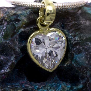 ASS 333 Gold Herz Anhänger mit großer Zirkonia weiß  – Bild 4