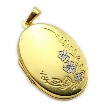333 Gold Großer Anhänger Medaillon Oval Foto gemustert (Blumenmuster) teilrhodiniert,2 farbig,Bicolor 26 mm x 19 mm – Bild 1