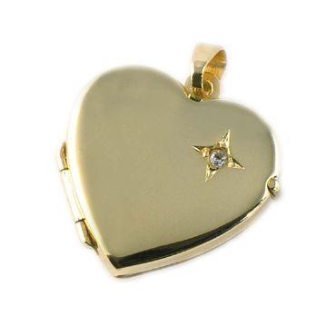 ASS 333 Gold Medaillon  Anhänger Foto Herz zum Öffnen, mit Zirkonia,glanz – Bild 1