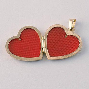 ASS 333 Gold Medaillon Herz Anhänger Foto teilmattier, graviert, Bicolor – Bild 3