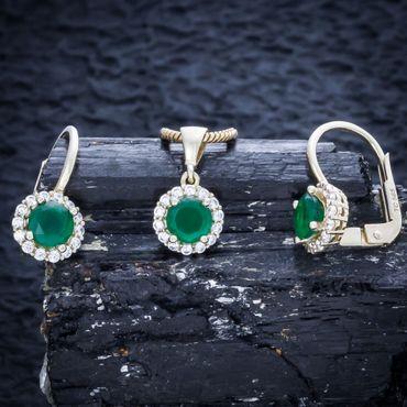 ASS 585 14 Karat Gold Damen Set Anhänger, Creolen, Ring Gr. 52 (16,5) mit grünem Zirkonia grün und weiß – Bild 3