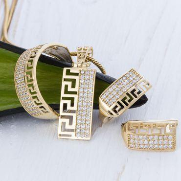 ASS 585 14 Karat Gold Damen Set Anhänger, Creolen, Ring Gr. 56 (17,8) mit Zirkonia mit Muster – Bild 1