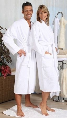 Bademantel -Serie RESIDENZ Kimono 200, 430g/m², Bademantel Größe L, weiß