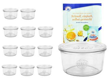 12er Set Weck Gläser 50ml Sturzgläser mit 12 Glasdeckeln inkl. Gelierzauber Rezeptheft von Diamantzucker – Bild 1
